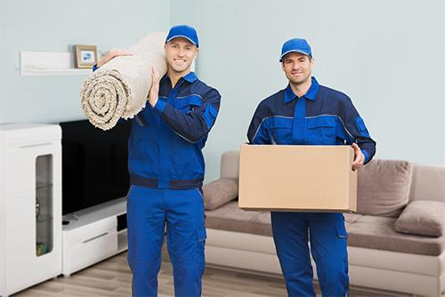 Helden Umzüge - Möbelpacker, Männer, Karton, Teppich, Wohnzimmer
